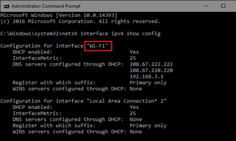 Wifi information - command prompt